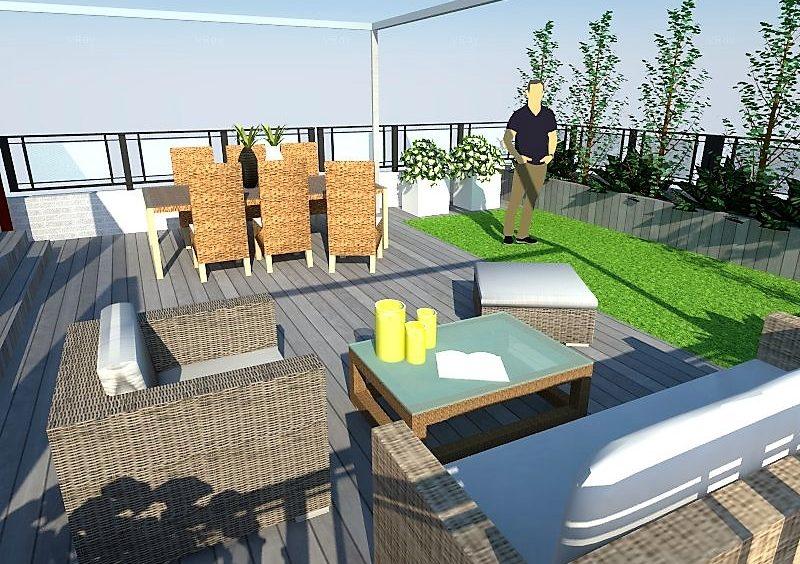 Diseño terraza con tarima tecnológica césped artificial y jardineras