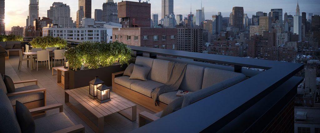 Diseño terraza con iluminación
