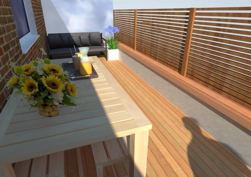 Diseño terraza con madera y lamas